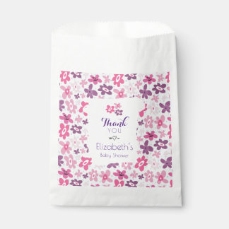 Pink Flowers and Blue Hearts Cute Baby Shower Favour Bag