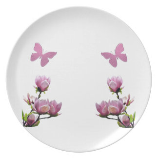 Pink Flowers and Butterflies Plate