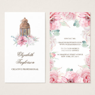 Pink Flowers and Candle Lit Lantern Business Card