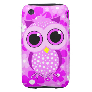 pink flowers and cute pink owl tough iPhone 3 case