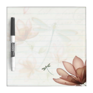 Pink flowers and dragonfly dry erase board