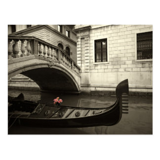 pink flowers and gondola postcard