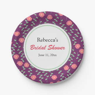 Pink Flowers and Leaves on Purple Bridal Shower 7 Inch Paper Plate