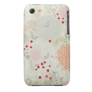 Pink flowers and little birds wallpaper Case-Mate iPhone 3 cases