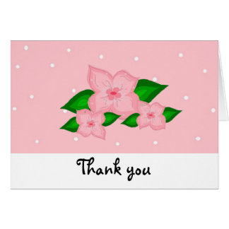 Pink Flowers And Polka Dots Card