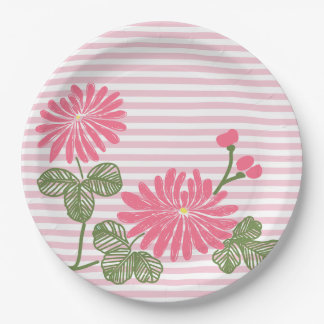 Pink Flowers and Stripes 9 Inch Paper Plate