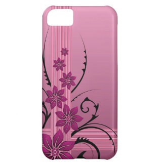 pink flowers and stripes iPhone 5C case