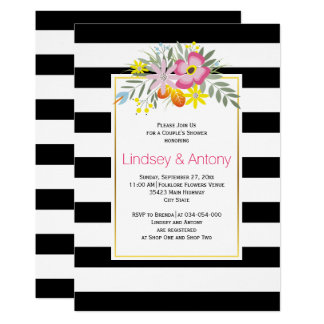 Pink flowers and stripes weddingcouple's shower card