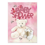 Pink Flowers and Teddybear Babyshower Invitation