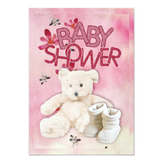 Pink Flowers and Teddybear Babyshower Invitation
