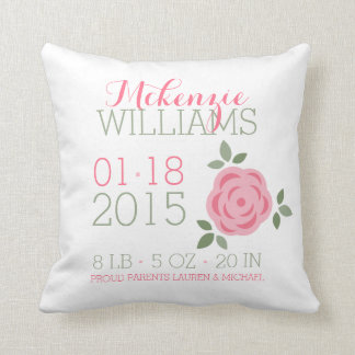 Pink Flowers Baby Birth Announcement Cushion