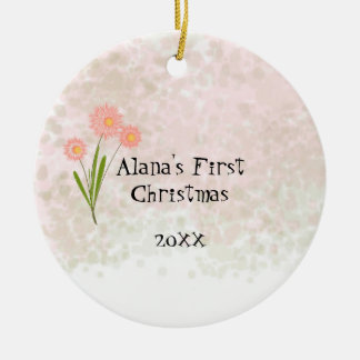 Pink Flowers Baby First Christmas Ceramic Ornament