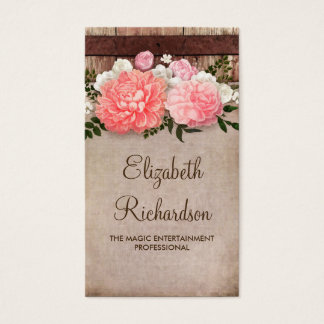 Pink Flowers Barn | Wood and Vintage Burlap Shabby Business Card