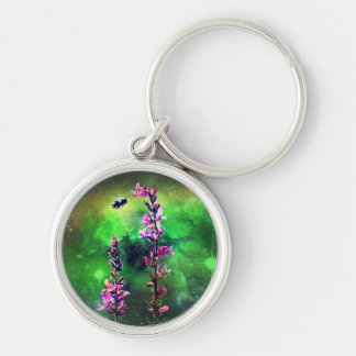 Pink Flowers Bee Against The World Keychain