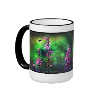 Pink Flowers Bee Against The World Coffee Mug