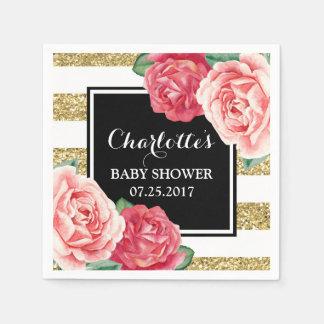 Pink Flowers Black Gold Stripes Baby Shower Disposable Napkin