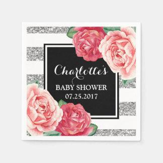Pink Flowers Black Silver Stripes Baby Shower Disposable Serviette