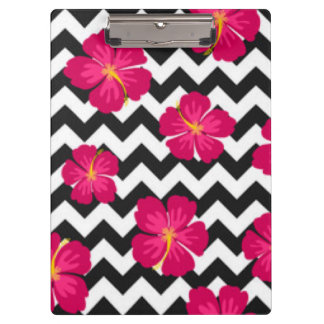 Pink Flowers Black White Chevron Pattern Design Clipboards