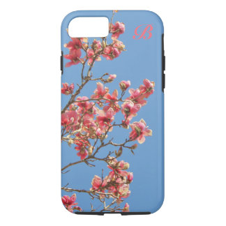 Pink flowers, Blue background, Monogram iPhone 8/7 Case