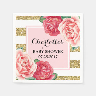 Pink Flowers Blush Gold Stripes Baby Shower Paper Napkins