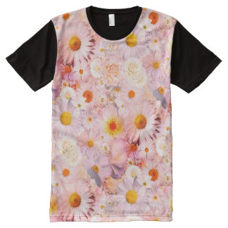 Pink Flowers Bouquet Floral Wedding Bridal Spring All-Over Print T-Shirt