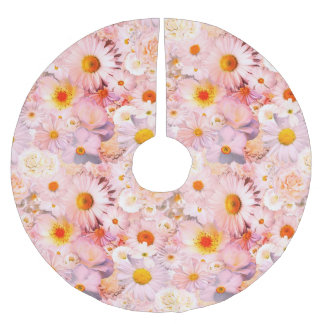 Pink Flowers Bouquet Floral Wedding Bridal Spring Brushed Polyester Tree Skirt