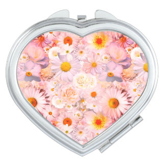 Pink Flowers Bouquet Floral Wedding Bridal Spring Compact Mirrors