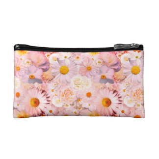 Pink Flowers Bouquet Floral Wedding Bridal Spring Cosmetics Bags