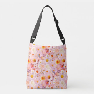 Pink Flowers Bouquet Floral Wedding Bridal Spring Crossbody Bag