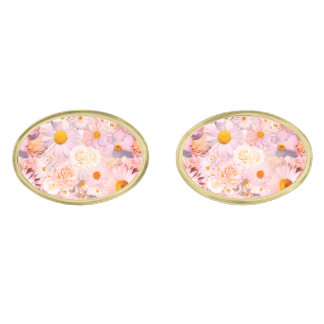 Pink Flowers Bouquet Floral Wedding Bridal Spring Gold Finish Cufflinks