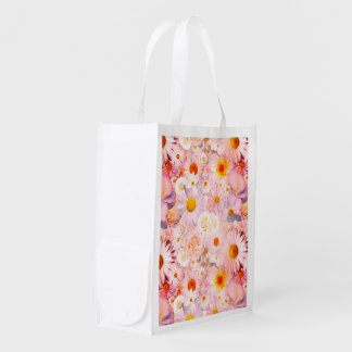 Pink Flowers Bouquet Floral Wedding Bridal Spring Reusable Grocery Bag