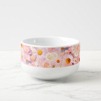 Pink Flowers Bouquet Floral Wedding Bridal Spring Soup Mug