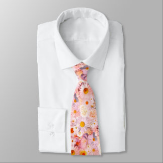 Pink Flowers Bouquet Floral Wedding Bridal Spring Tie