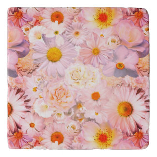 Pink Flowers Bouquet Floral Wedding Bridal Spring Trivet