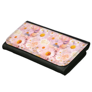 Pink Flowers Bouquet Floral Wedding Bridal Spring Wallets