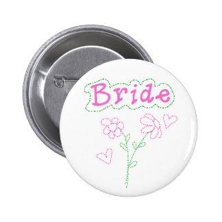 Pink Flowers Bride 6 Cm Round Badge