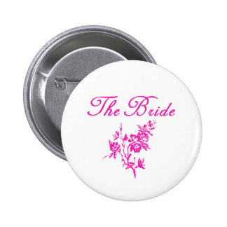 Pink Flowers Bride Products 6 Cm Round Badge