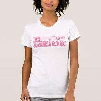 Pink Flowers Bride Tee Shirts