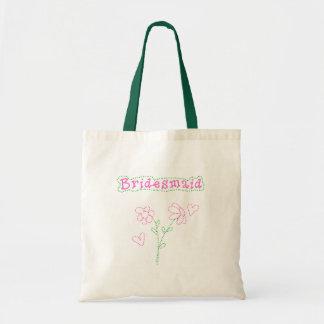 Pink Flowers Bridesmaid Budget Tote Bag