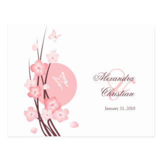 Pink Flowers Butterfly Save the Date Announcement Postcard