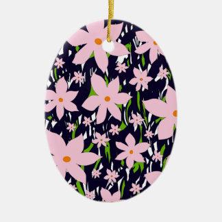 Pink flowers ceramic oval decoration