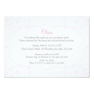 Pink Flowers Christening Invitation