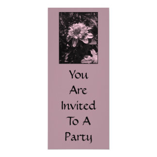 Pink flowers. Clematis. Stylish design. 10 Cm X 24 Cm Invitation Card
