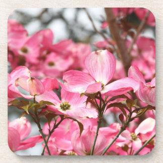Pink Flowers Coaster Set