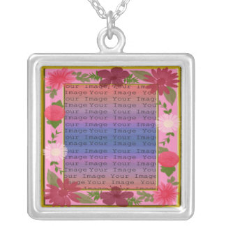 Pink Flowers Custom Square Silver Necklace