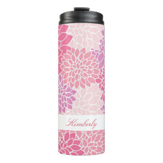 Pink Flowers Custom Thermal Tumbler