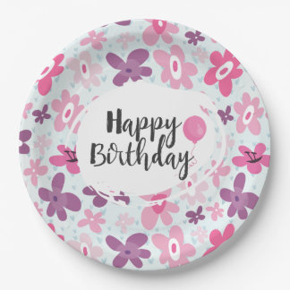 Pink Flowers Cute Whimsical Pattern Birthday 9 Inch Paper Plate
