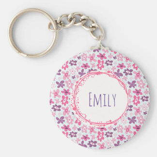 Pink Flowers Cute Whimsical Pattern Personalized Key Ring