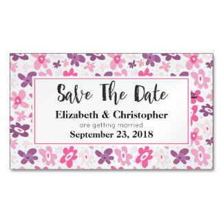 Pink Flowers Cute Whimsical Pattern Save The Date Magnetic Business Card