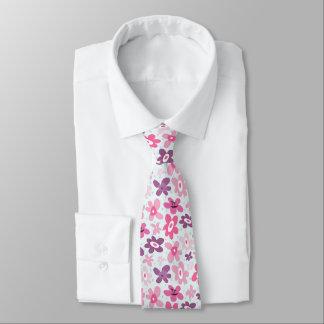 Pink Flowers Cute Whimsical Pattern Tie